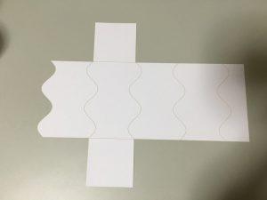 サインカーブの折り目の箱の展開図