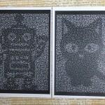 ロボットと猫の切り絵
